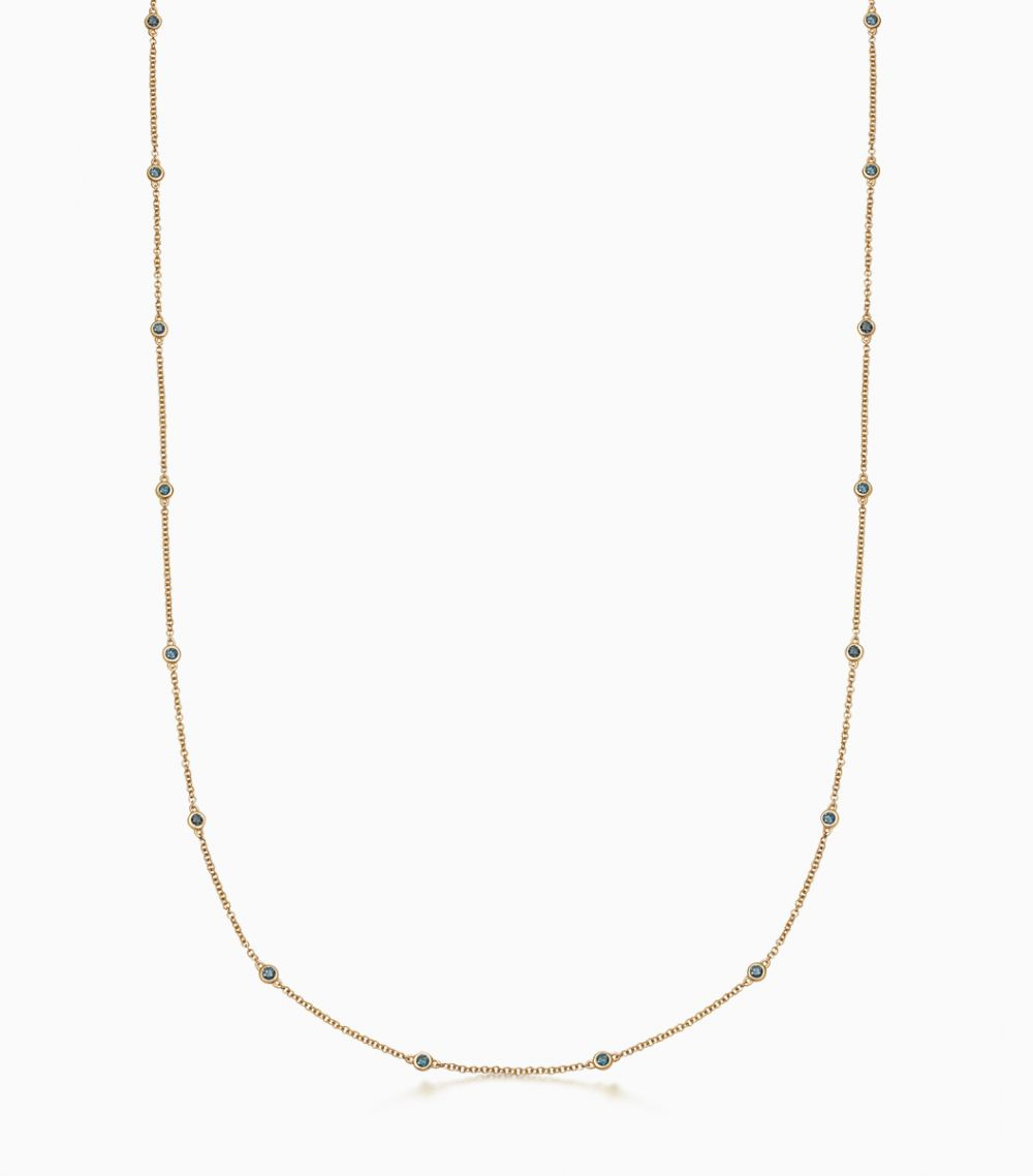 Long Blue Diamond Necklace