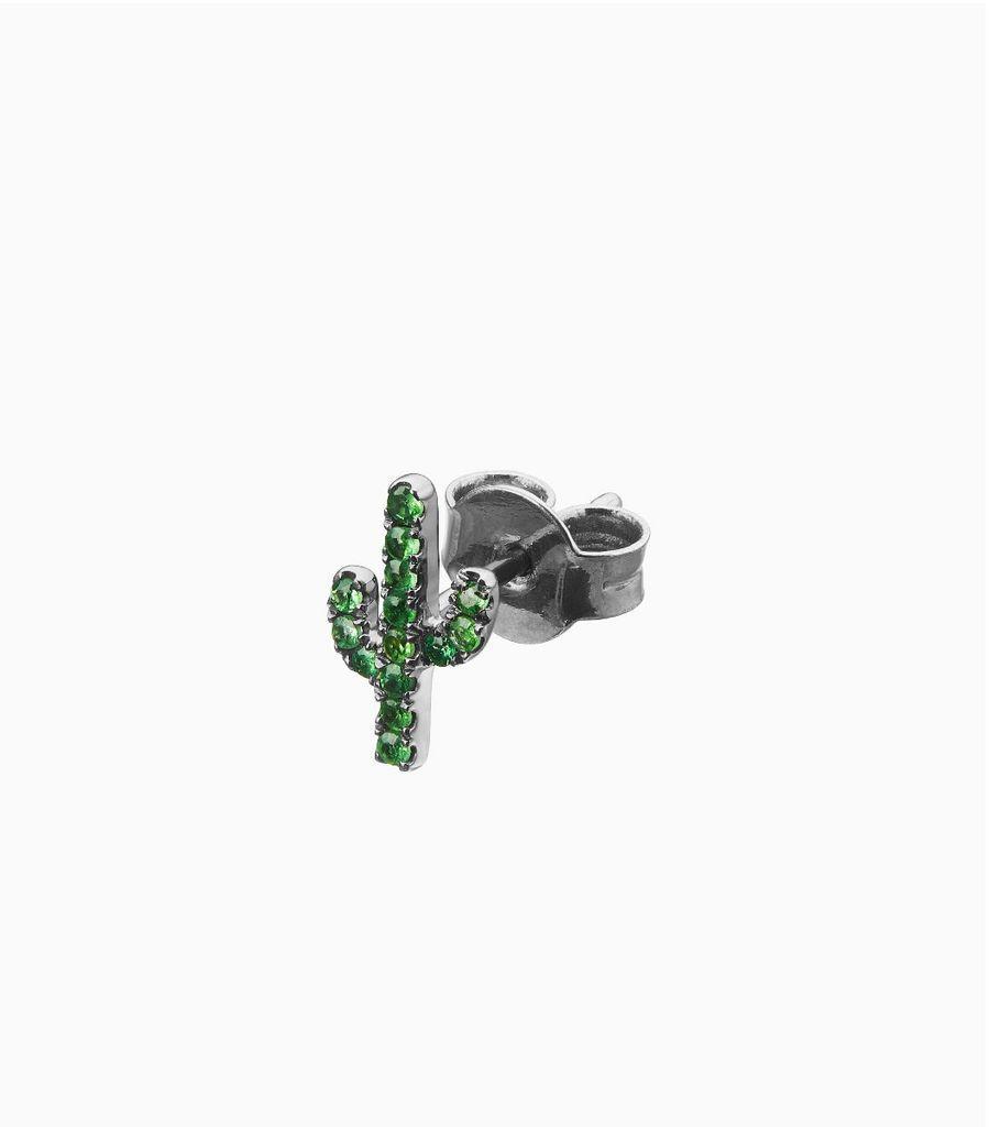 tsavorite black gold, 14k, cactus stud