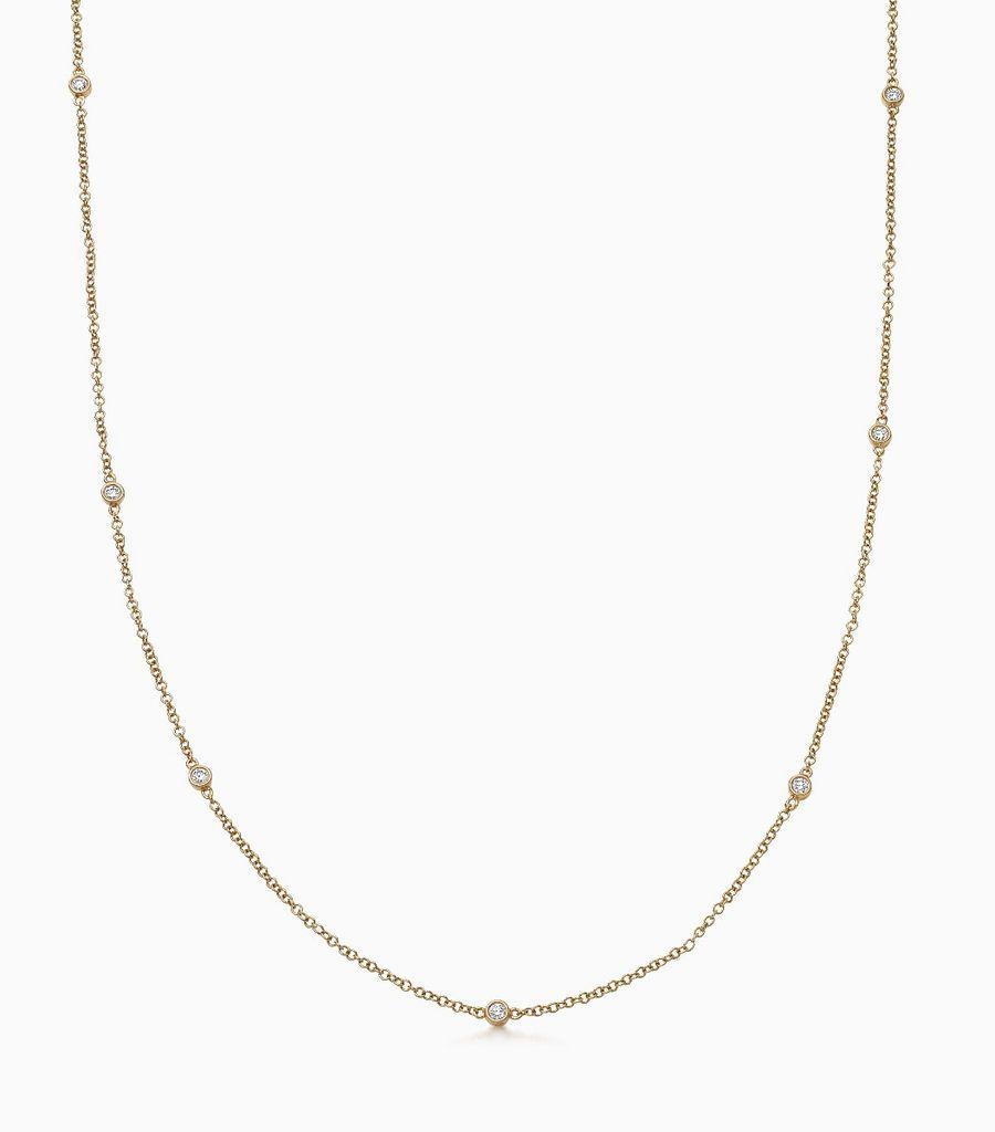 Chain, diamond, yellow gold 18kt, diamond long necklace