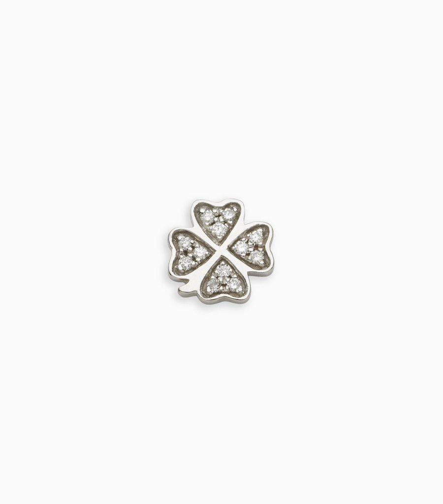 Diamond Four Leaf Clover White Gold - Luck