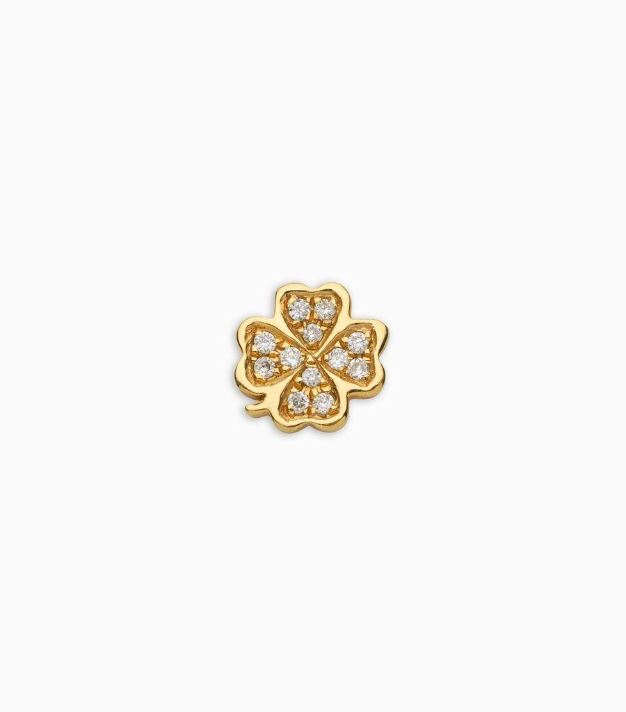 Luck/nature, diamond, yellow gold 18kt, diamond four leaf clover