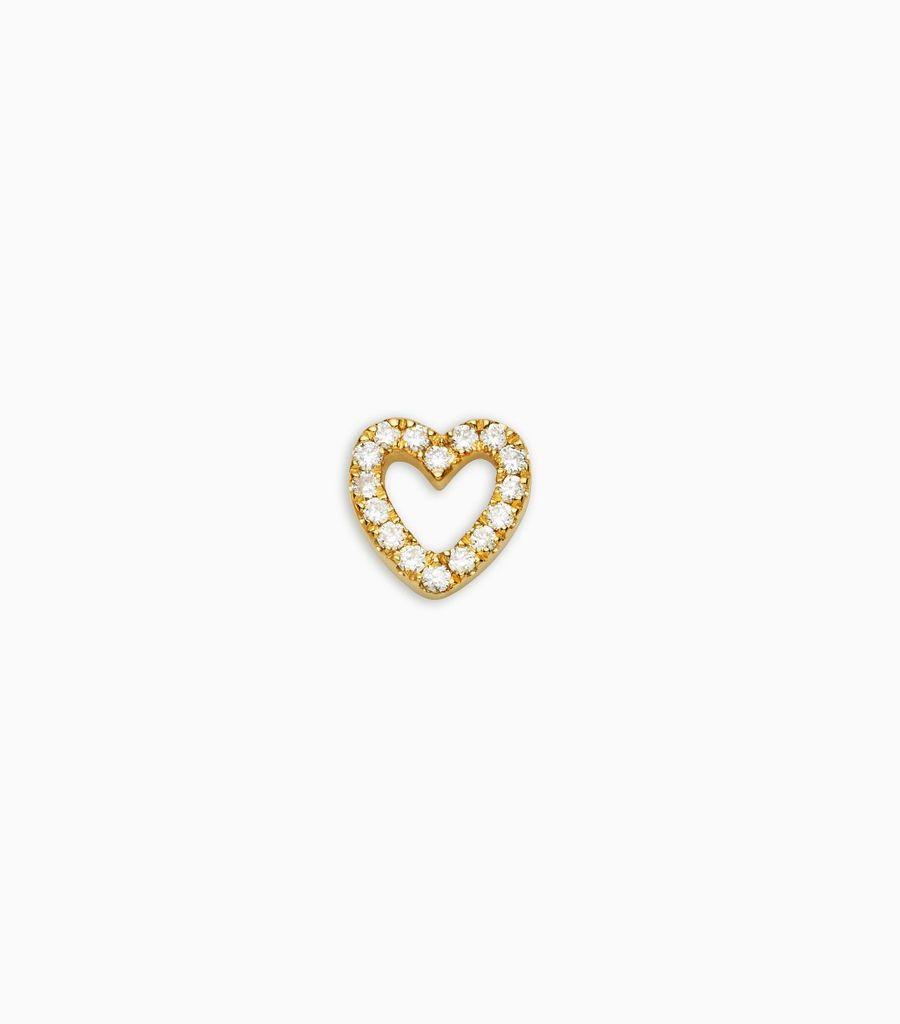 Love, diamond, yellow gold 18kt, diamond heart