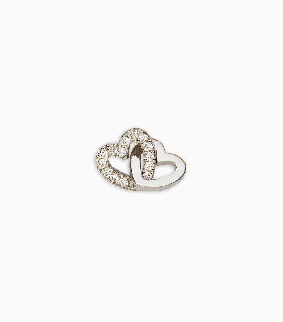 diamond white gold, 18kt, diamond linked hearts