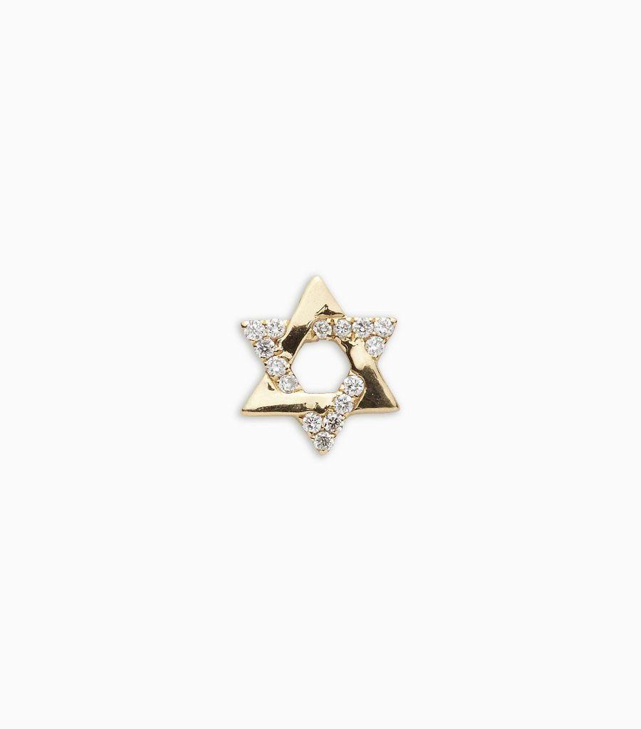 Faith, diamond, yellow gold 18kt, star of david