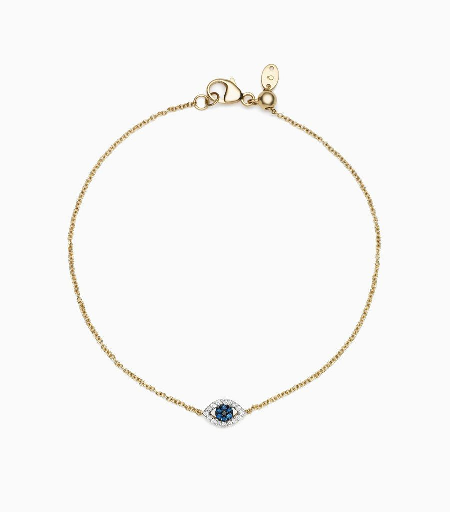 Evil Eye Charm Bracelet, 14k, yellow gold, diamonds, sapphires