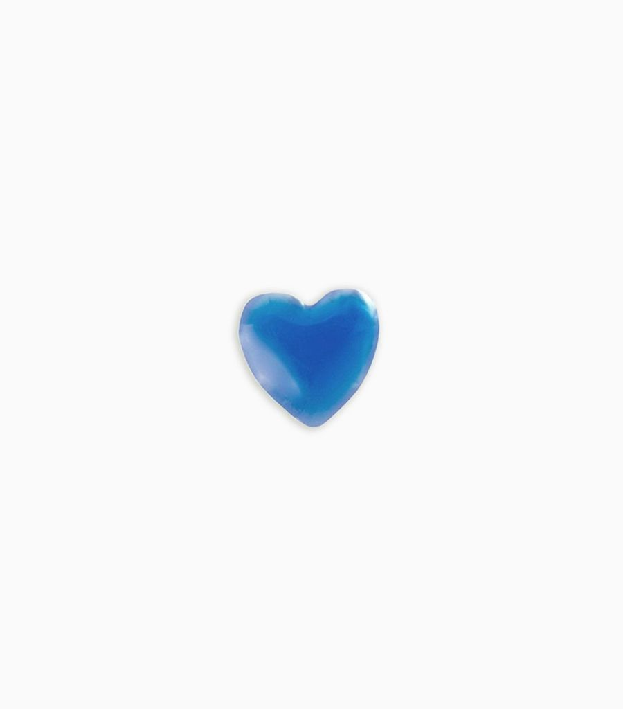 Blue enamel, mother of pearl heart
