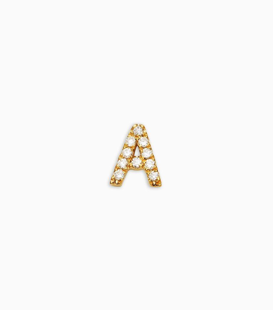 Letter A, yellow gold, diamond, 18k