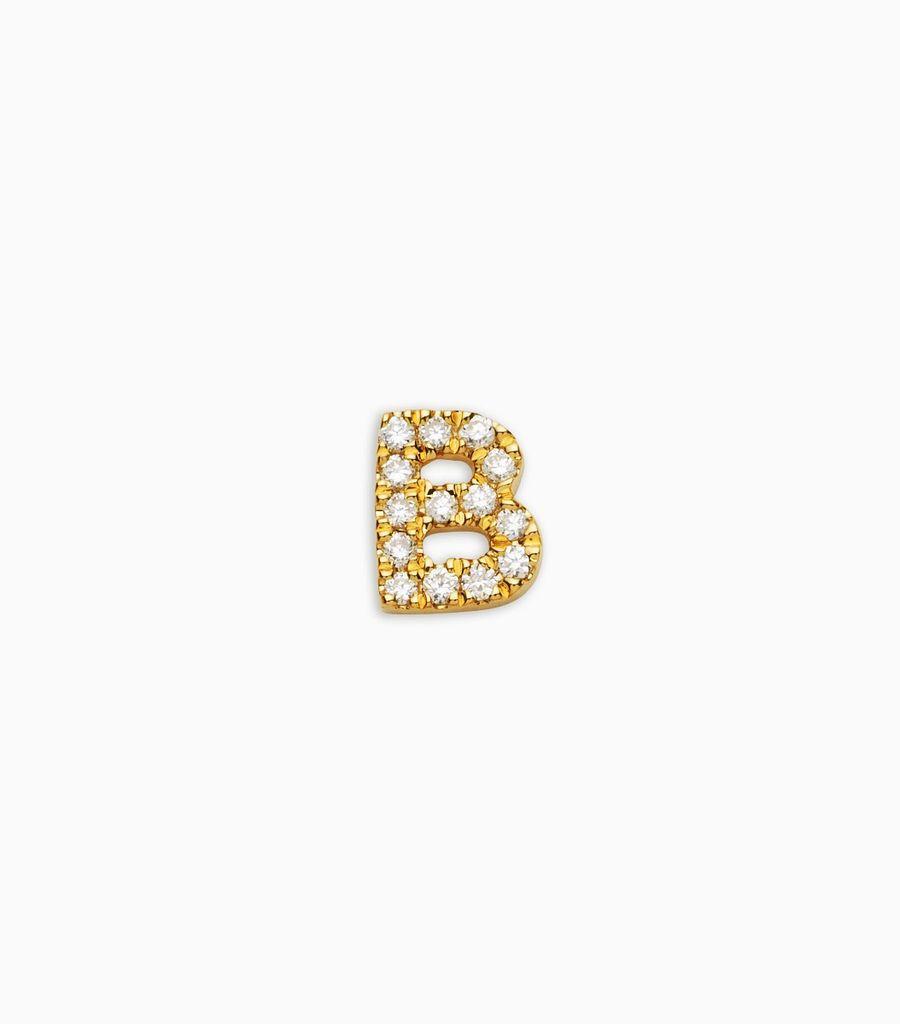 Letter B, yellow gold, diamond, 18k