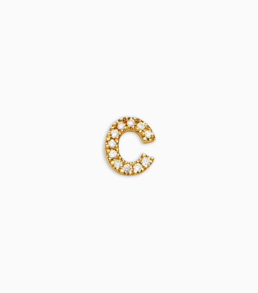 Letter C, yellow gold, diamond, 18k