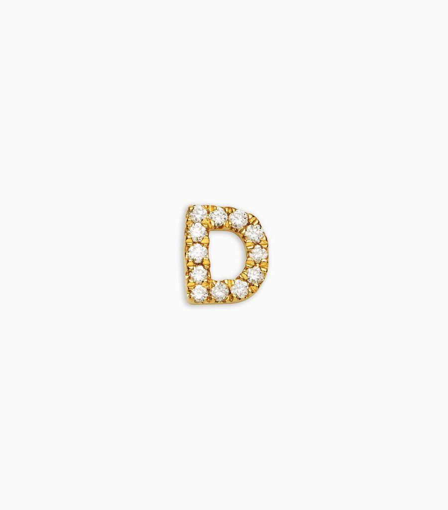 Letter D, yellow gold, diamond, 18k