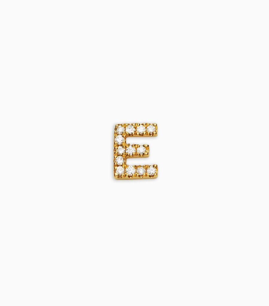 Letter E, yellow gold, diamond, 18k