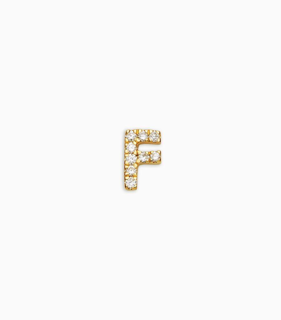 Letter F, yellow gold, diamond, 18k