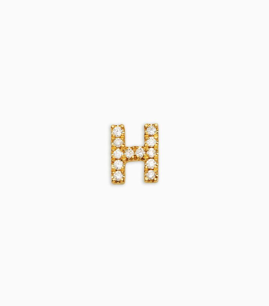 Letter H, yellow gold, diamond, 18k