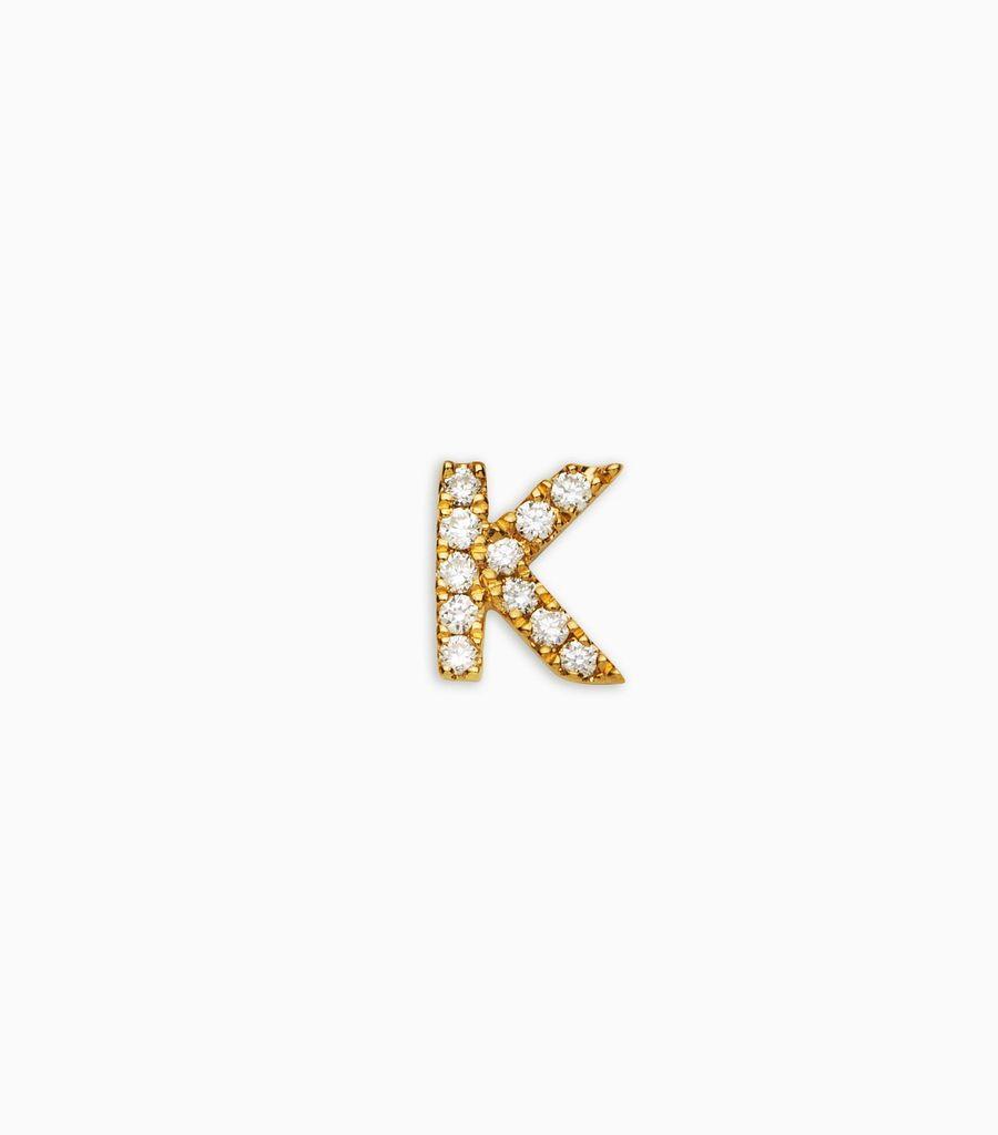 Letter K, yellow gold, diamond, 18k