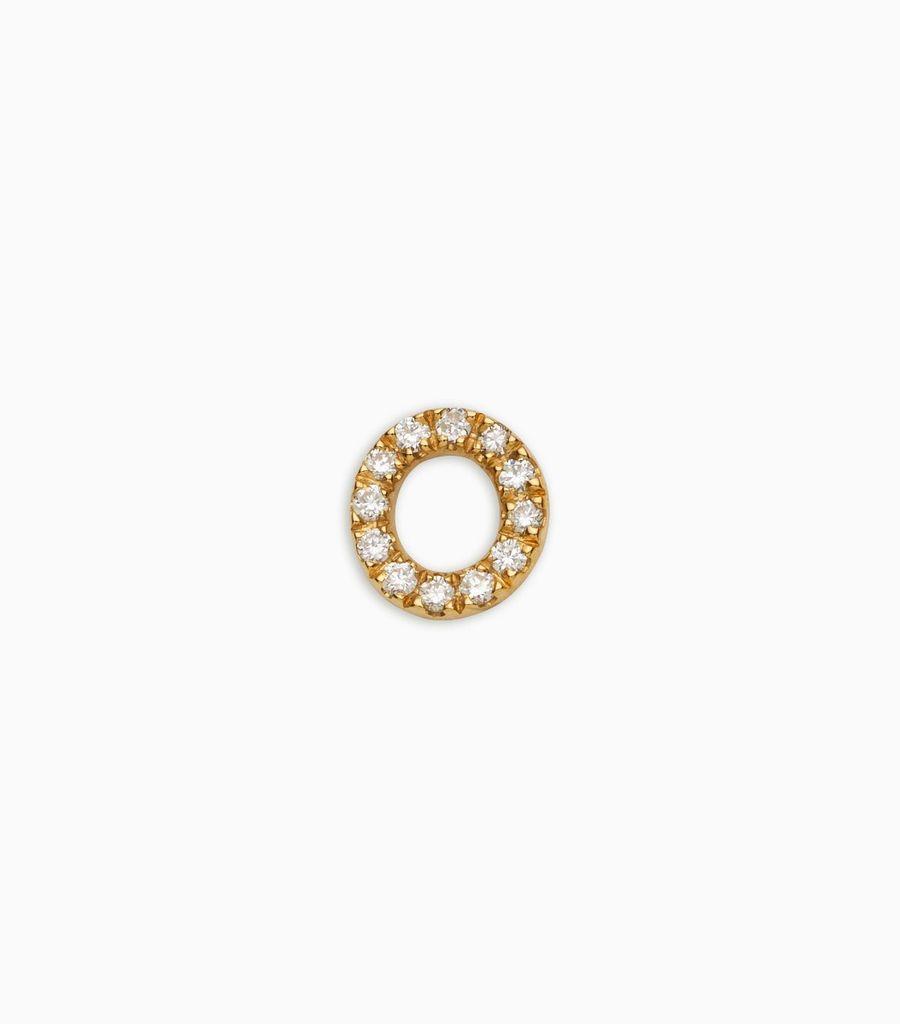 Letter O, yellow gold, diamond, 18k