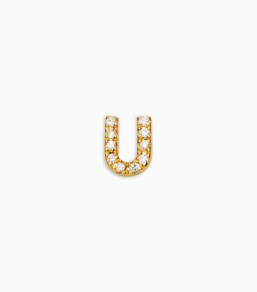 Letter U, yellow gold, diamond, 18k