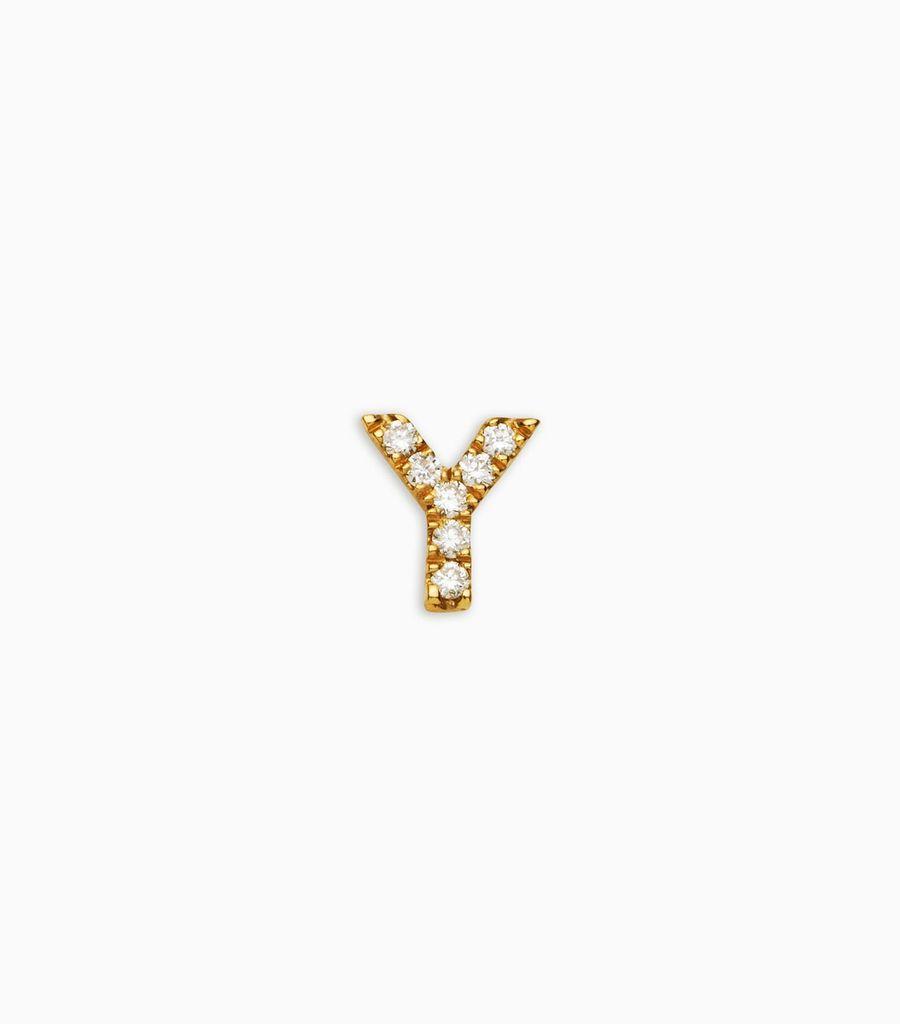 Letter Y, yellow gold, diamond, 18k