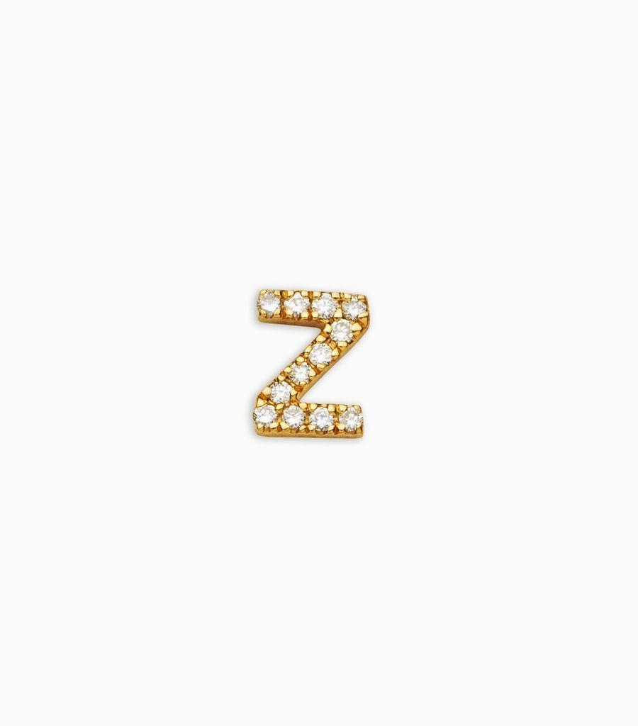 Letter Z, yellow gold, diamond, 18k