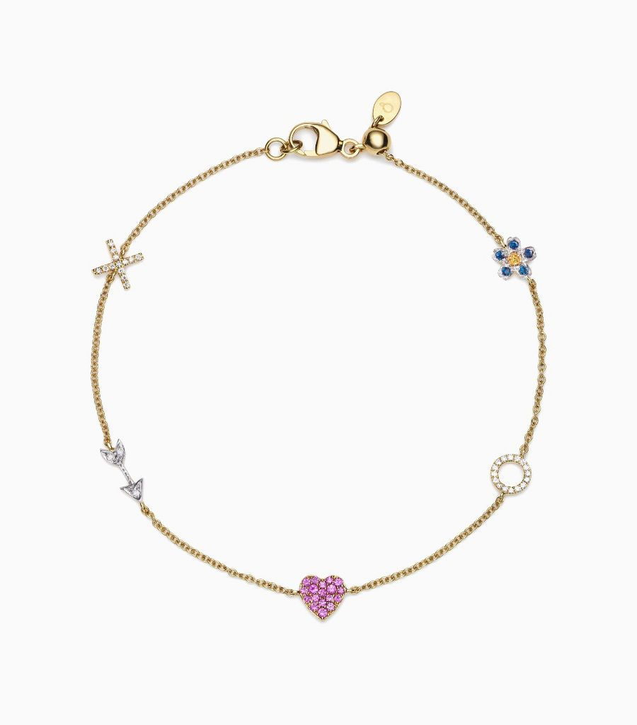 Love Charm Bracelet, 14k, yellow gold