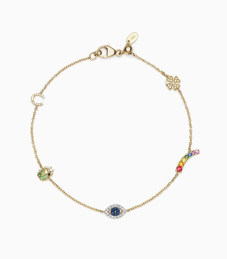 Luck Charm Bracelet, 14k, yellow gold
