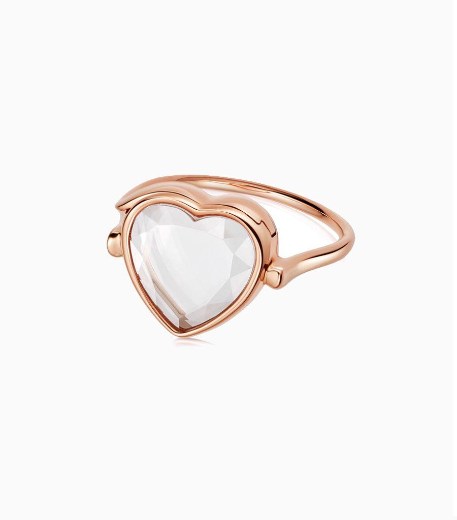 Medium heart loquet ring 9k