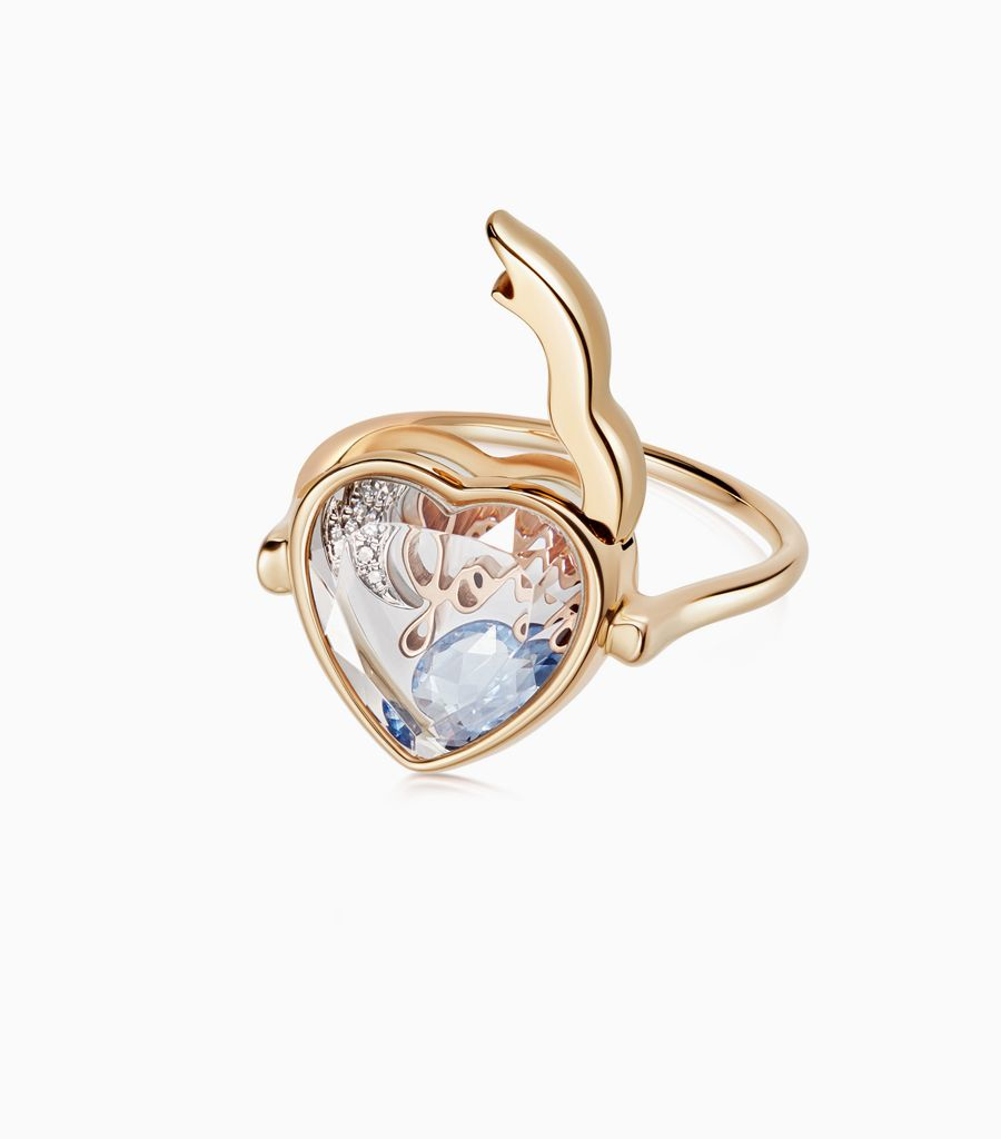 Faceted Heart Loquet Ring