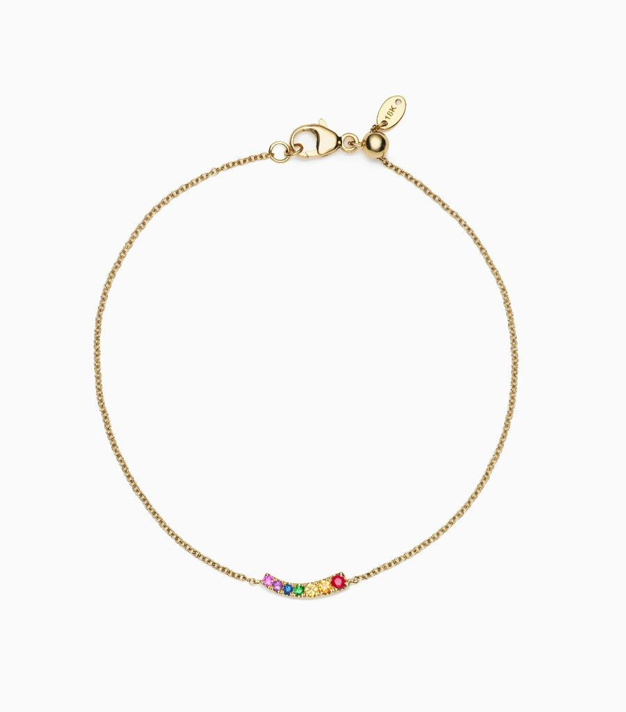 Charm Bracelet,14kt, yellow gold, rainbow