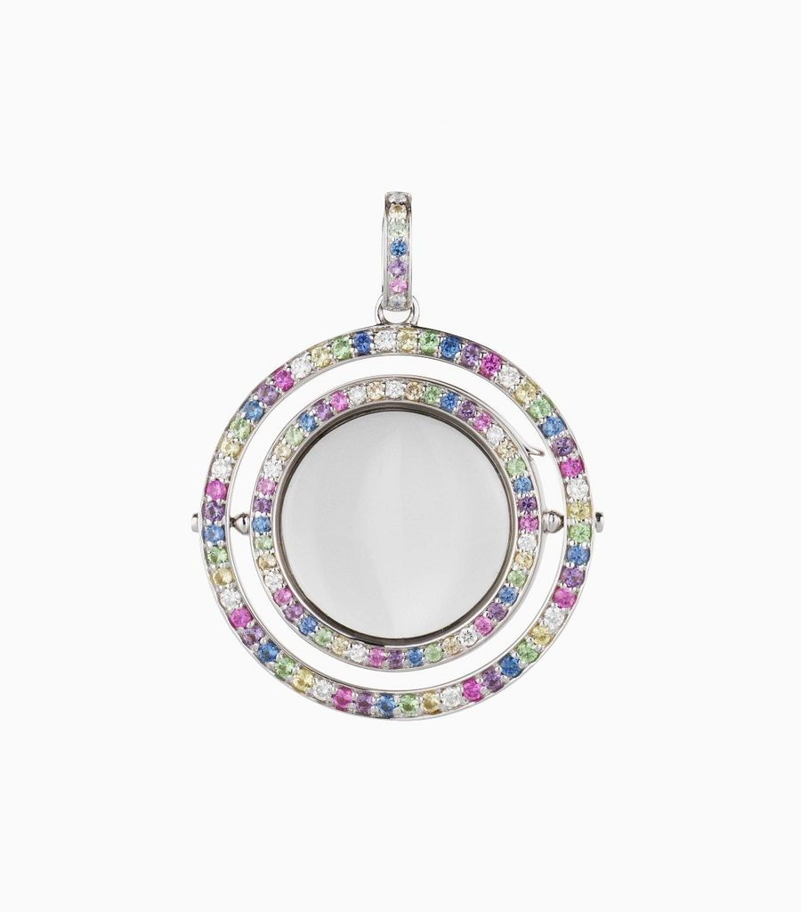 Double Pastel Rainbow Locket with Diamond and Sapphire