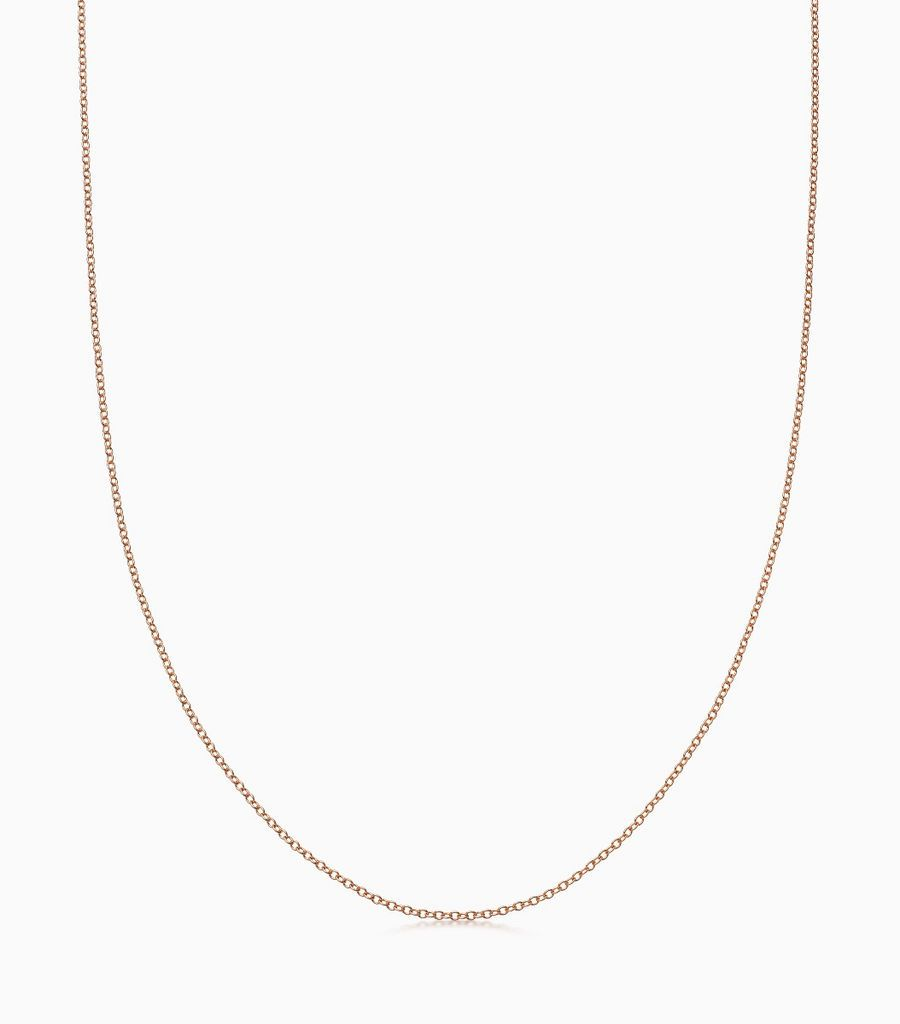 18carat rose gold, 32 inch, fine gauge chain, with an adjustible sliding ball, so that the necklace can be worn at any length. Logo disk on the back