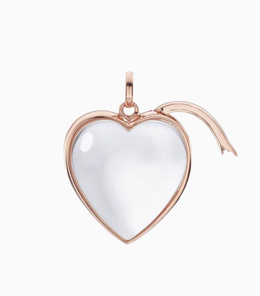 Large Heart Shape Locket Pendant Rose Gold
