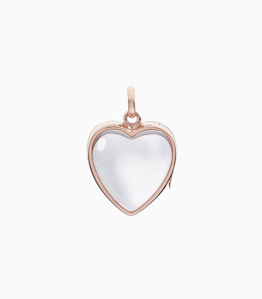 14 carat rose gold, heart shaped locket, set with a bevel edged, crystal glass front and a flat crystal glass back. The locket is designed with a side hindge for secure fastening and has a 18mm drop and a 17mm width
