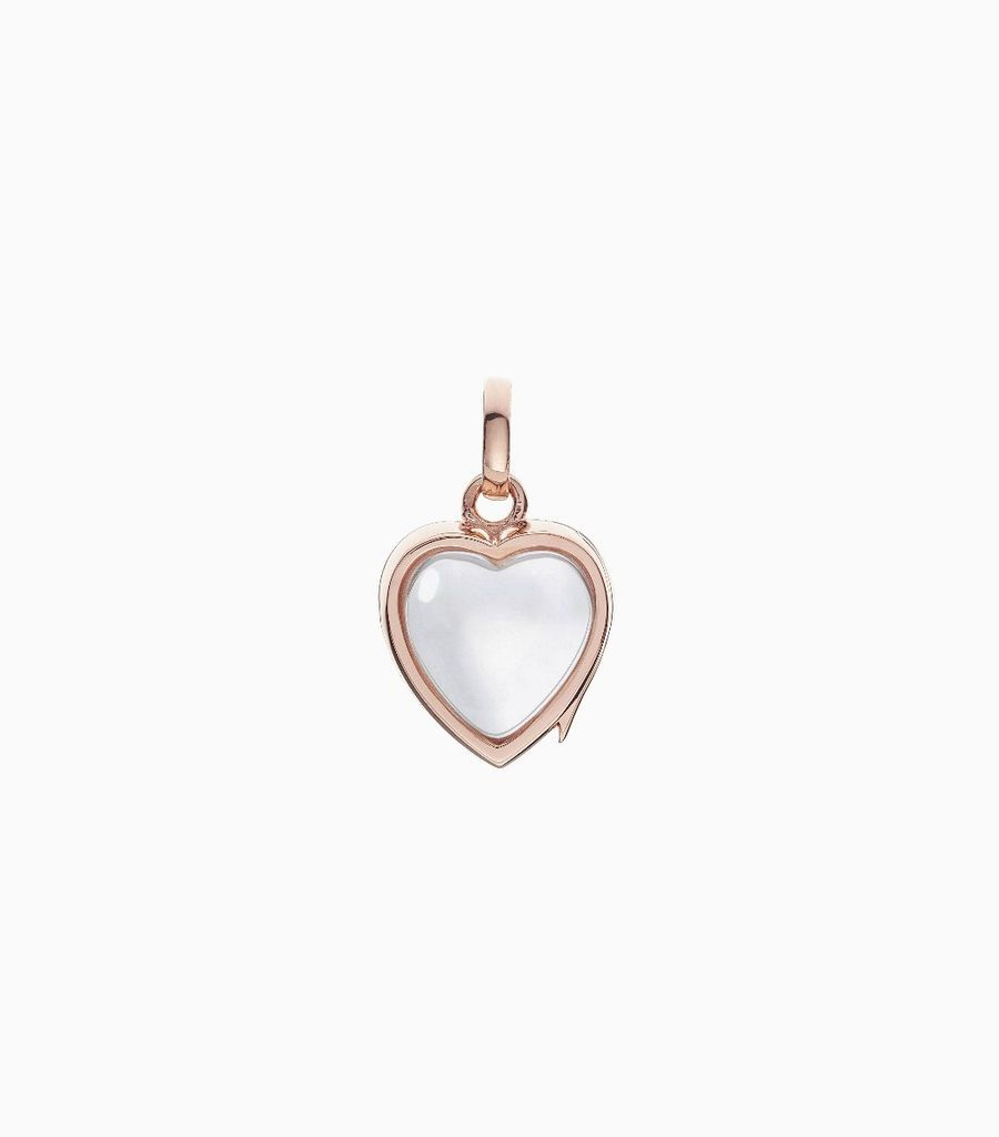 9carat rose gold, heart shaped locket, set with a bevel edged, crystal glass front and a flat crystal glass back. The locket is designed with a side hindge for secure fastening and has a 12mm drop and a 11mm width