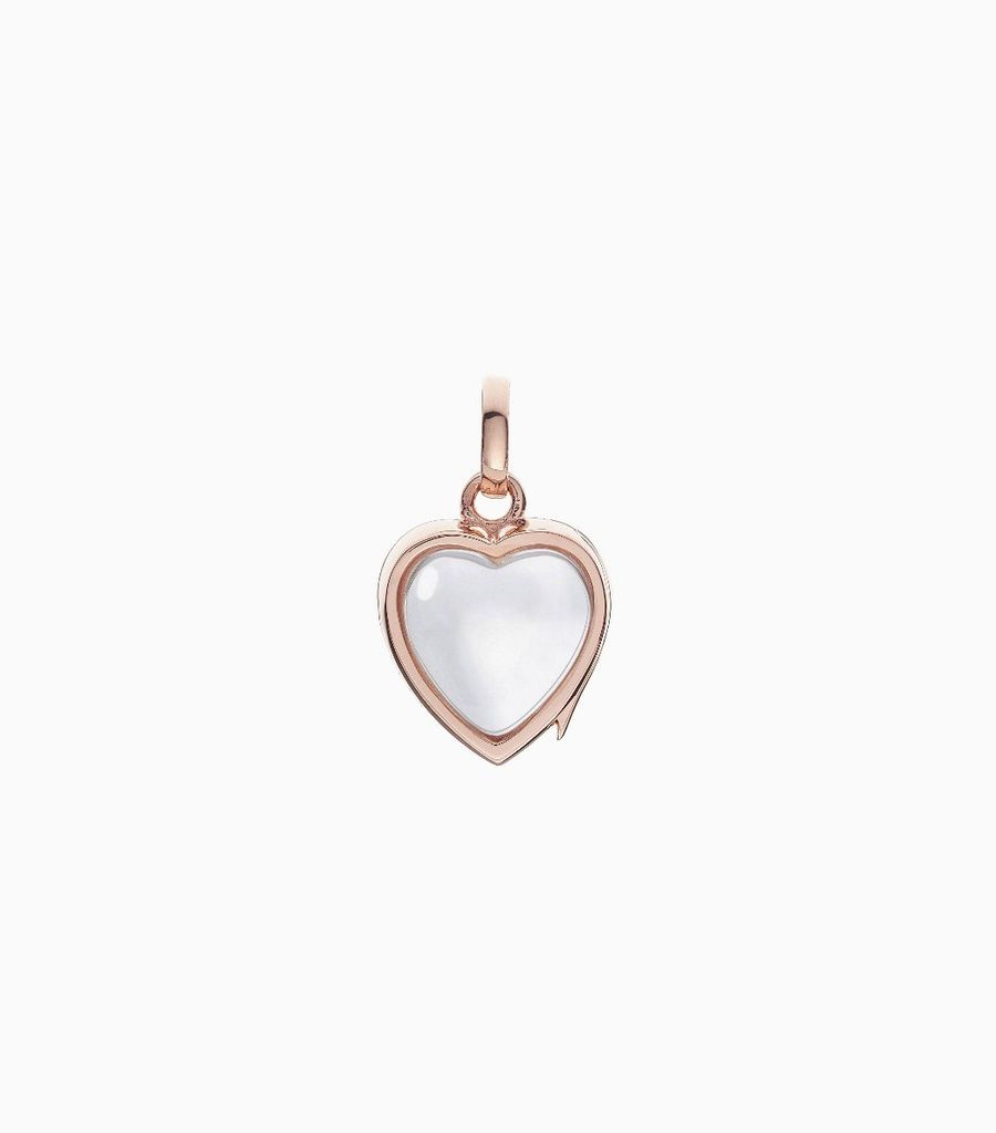 14 carat rose gold, heart shaped locket, set with a bevel edged, crystal glass front and a flat crystal glass back. The locket is designed with a side hindge for secure fastening and has a 12mm drop and a 11mm width