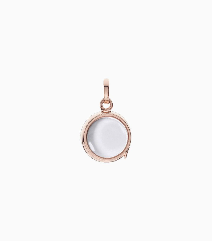 14 carat rose gold, round shaped locket, set with a bevel edged, crystal glass front and a flat crystal glass back. The locket is designed with a side hindge for secure fastening and has a 12mm drop and a 11mm width