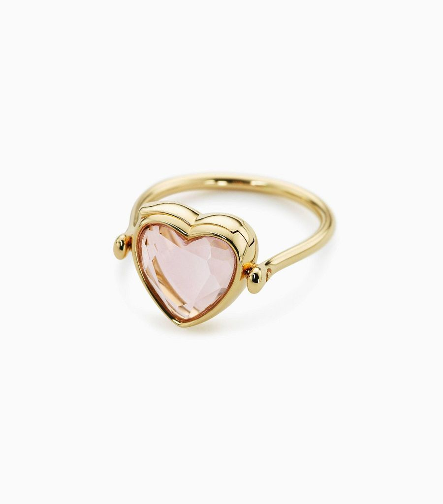 Small heart rose quartz ring