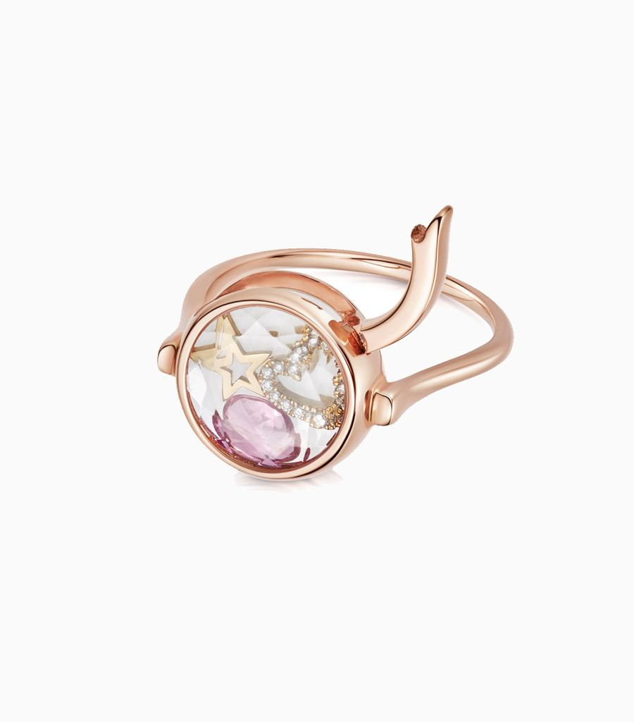 Faceted Round Loquet Ring in Rose Gold