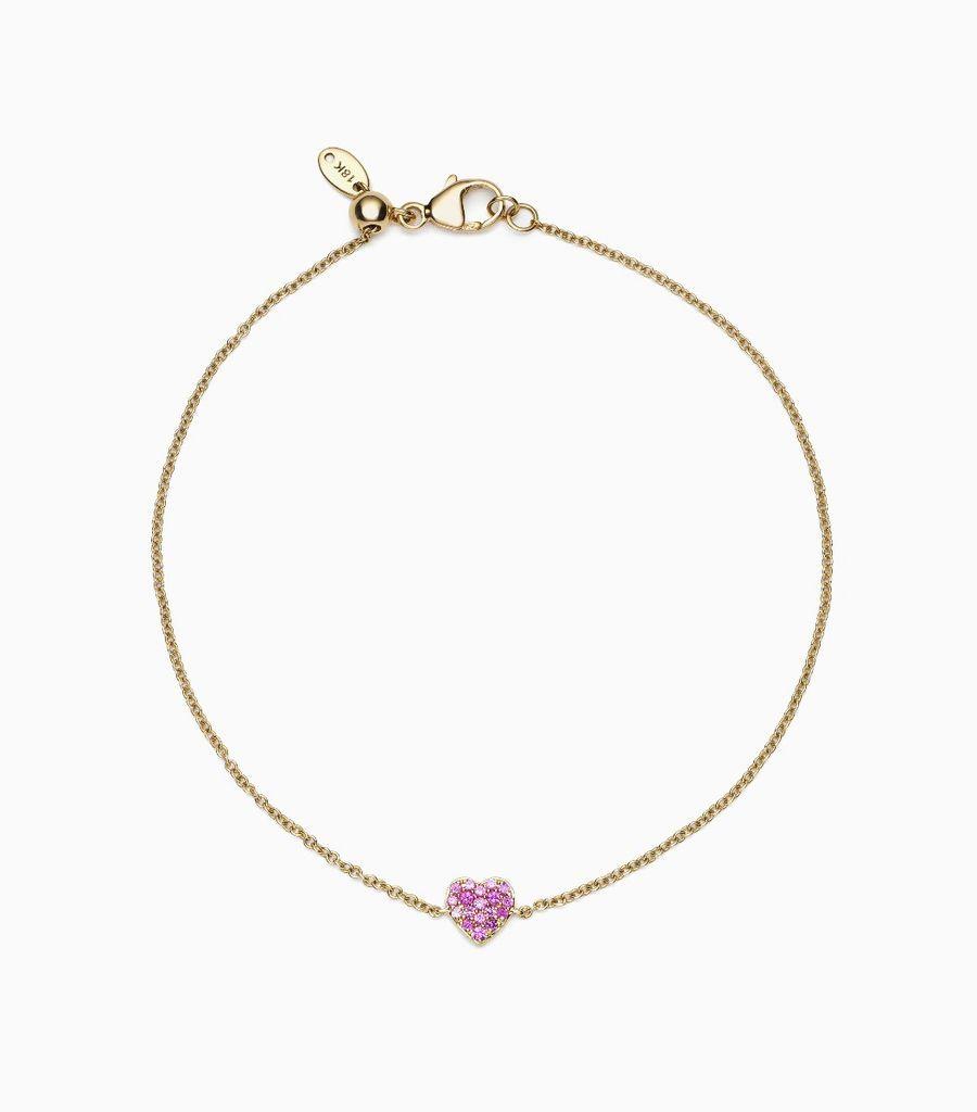 Sapphire Heart Charm Bracelet, 14k, yellow gold