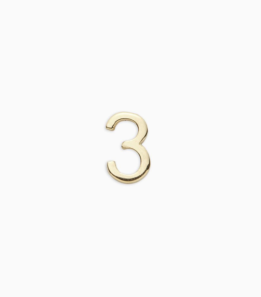 Numbers, yellow gold, 18kt, 3