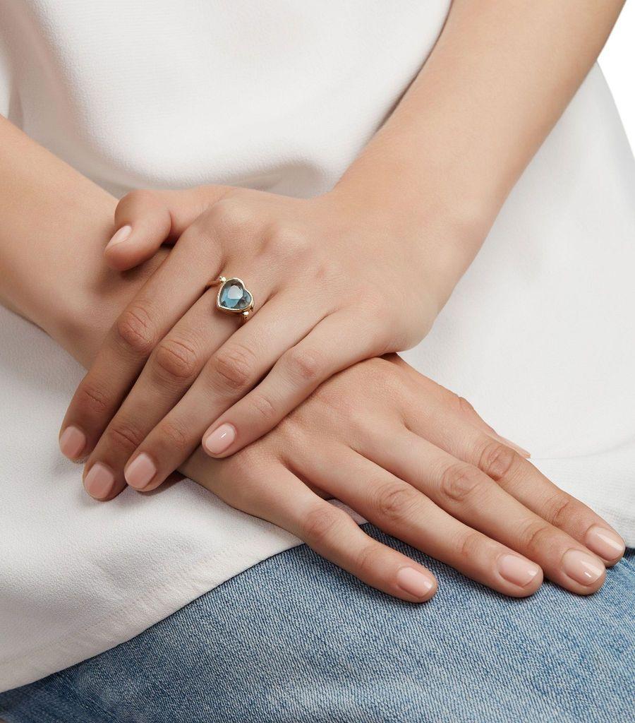 Small Topaz Heart Ring 9k