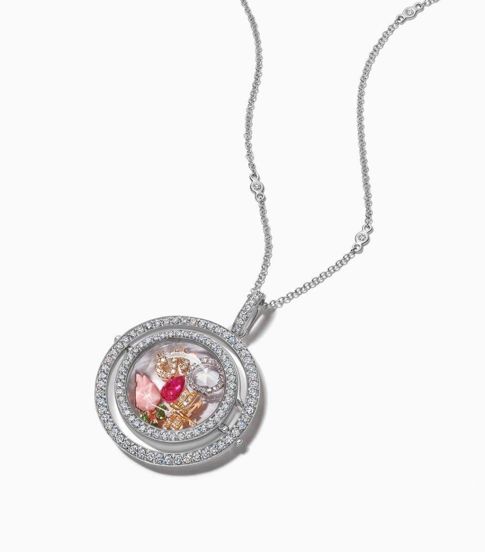 The White Gold Diamond Revolving Locket