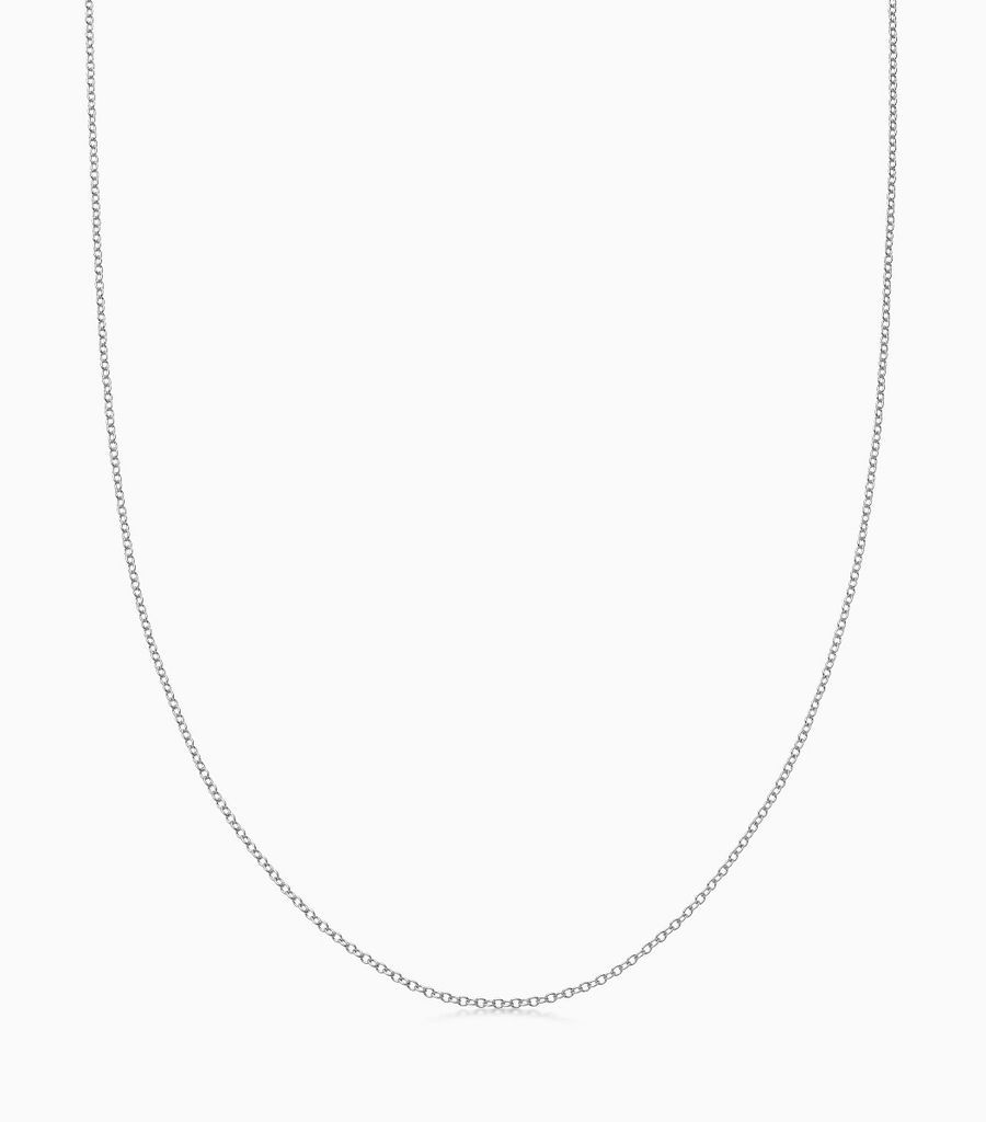 18kt, white gold fine gauge, 32 inch necklace