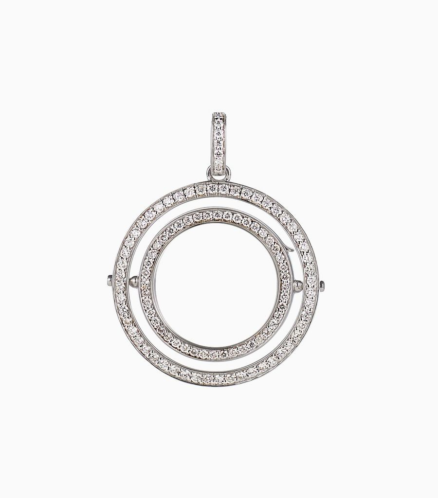 Double diamond round locket, white gold