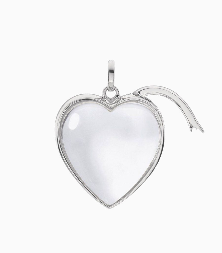 Large Heart Shape Locket Pendant White Gold