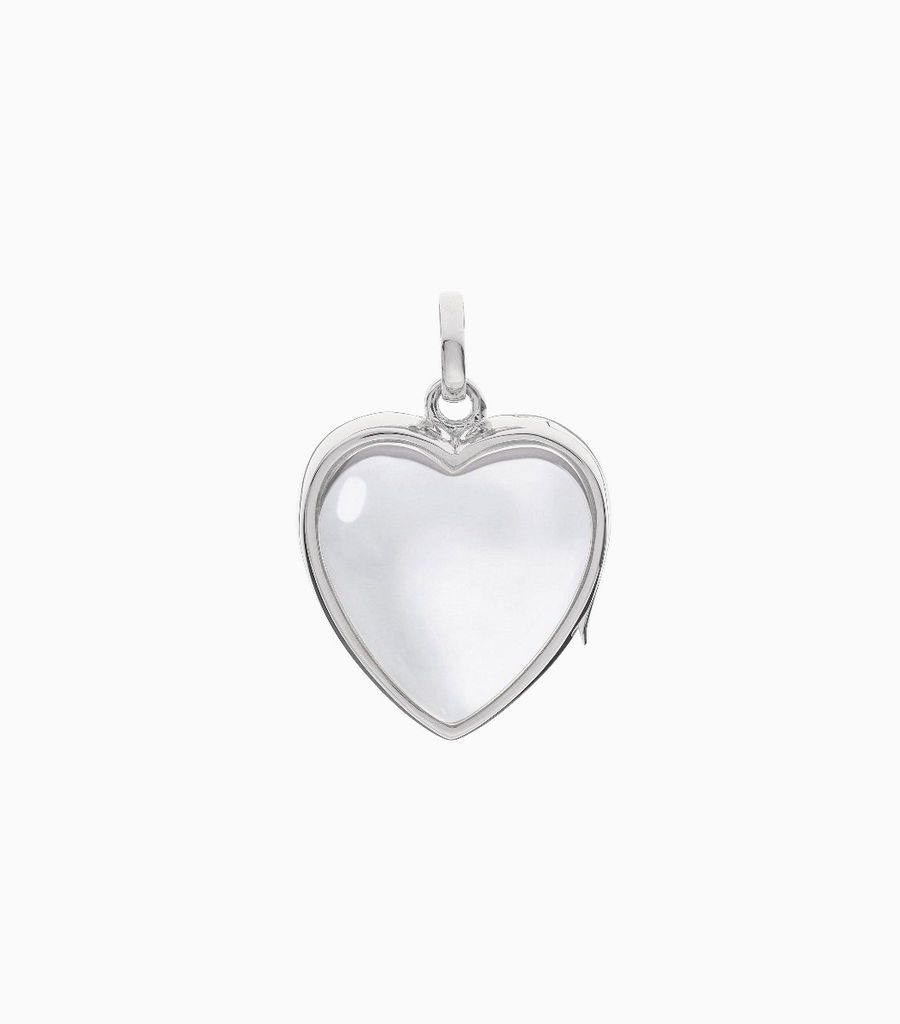 9carat white gold, heart shaped locket, set with a bevel edged, crystal glass front and a flat crystal glass back. The locket is designed with a side hindge for secure fastening and has a 18mm drop and a 17mm width