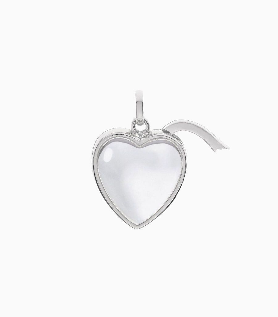 Medium Heart Shape Locket Pendant White Gold