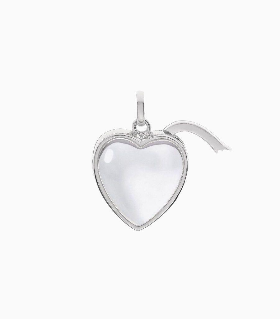 Medium Heart Shape Locket Pendant White Gold