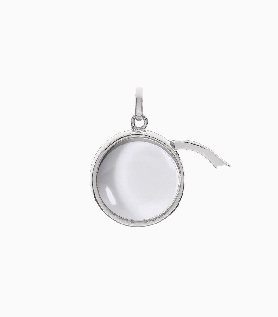 Medium Round Locket Pendant White Gold