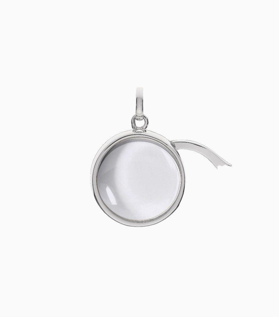 Medium Round Locket Pendant White Gold