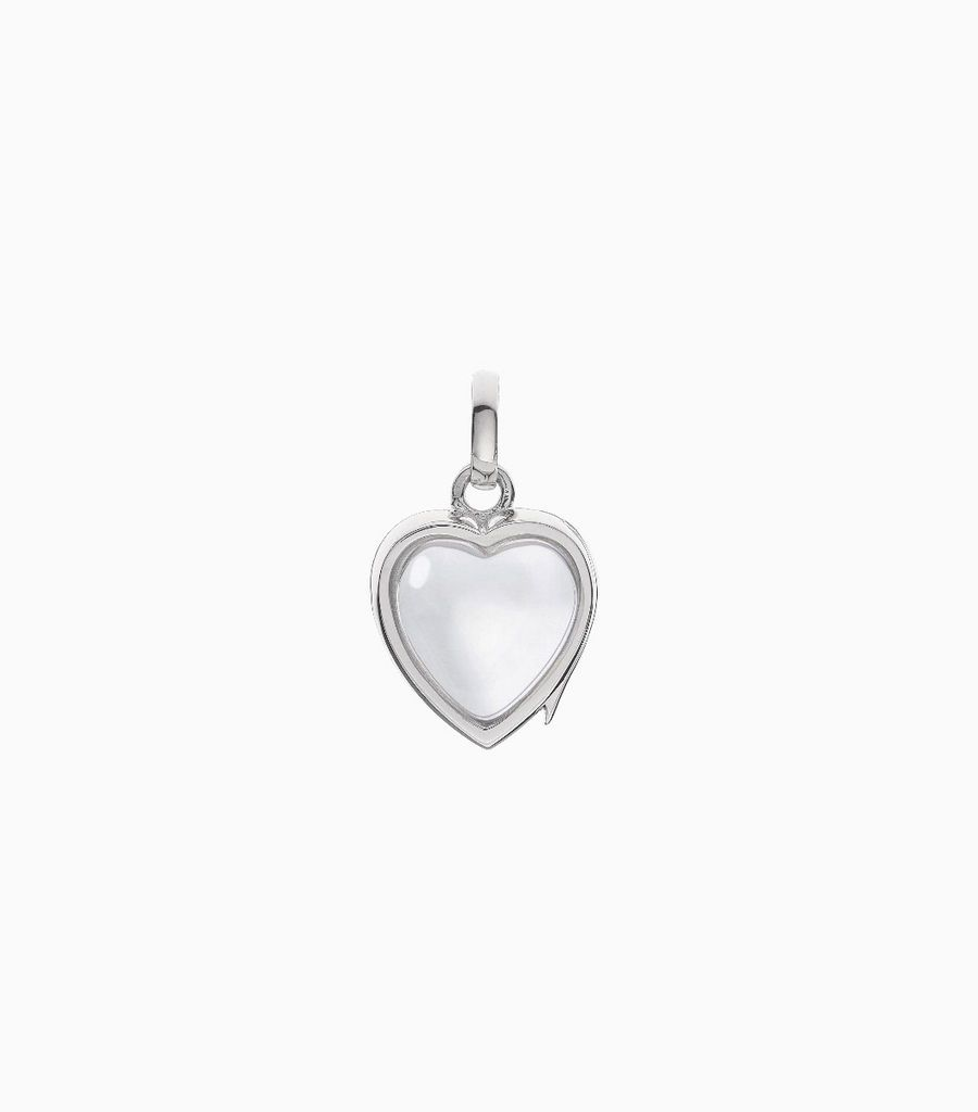 14carat white gold, heart shaped locket, set with a bevel edged, crystal glass front and a flat crystal glass back. The locket is designed with a side hindge for secure fastening and has a 12mm drop and a 11mm width