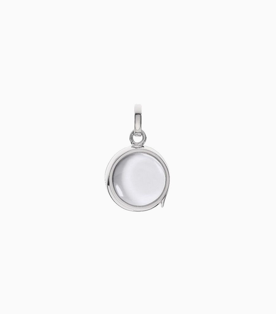 14carat white gold, round shaped locket, set with a bevel edged, crystal glass front and a flat crystal glass back. The locket is designed with a side hindge for secure fastening and has a 12mm drop and a 11mm width
